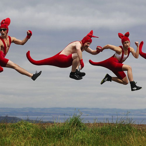 Circus OZ's red kangaroos perform acrobatic feats at Edinburgh Festival